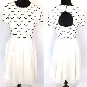 French Connection cream dress with floral beading